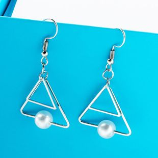 Vintage Double Triangle Pearl Earrings NHDP149046's discount tags