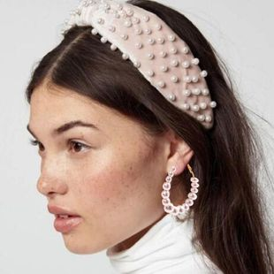 European and American style wide version of the cross pearl fabric headband NHMD149047's discount tags