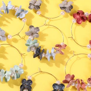 Sweet fabric flower big circle earrings NHMD149054's discount tags