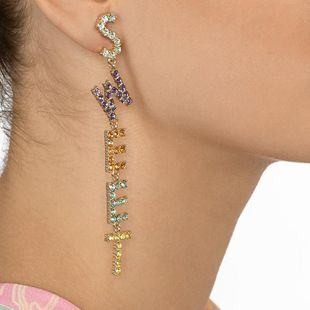European and American trend design letters long gemstone earrings NHJQ149056's discount tags