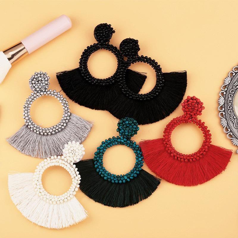 Fashion Beaded Fan-shaped Tassel Earrings NHAS149063