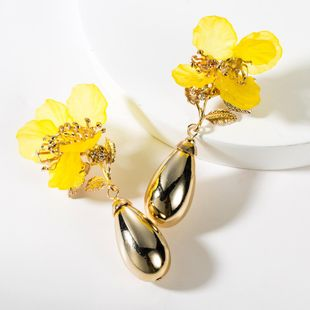 Fashion resin flower drop-shaped alloy earrings NHJE149072's discount tags