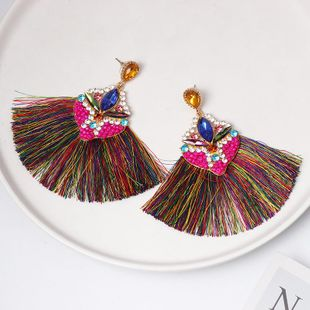 New diamond-studded geometric tassel long earrings NHJJ149076's discount tags