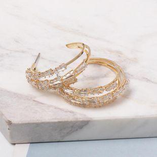 New C-shaped alloy diamond hoop earrings NHJJ149081's discount tags