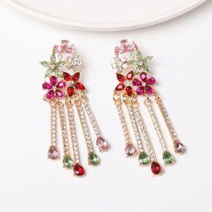 Fashion Diamond Flower Tassel Earrings NHJJ149085's discount tags