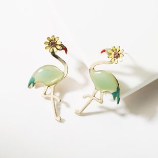 Fashion alloy dripping red-crowned crane flower stud earrings NHJE149086's discount tags