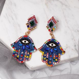 Fashion color diamond palm earrings NHJJ149090's discount tags