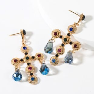 Vintage Round Cross Studded Acrylic Earrings NHJE149092's discount tags
