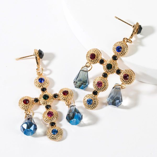 Vintage Round Cross Studded Acrylic Earrings NHJE149092