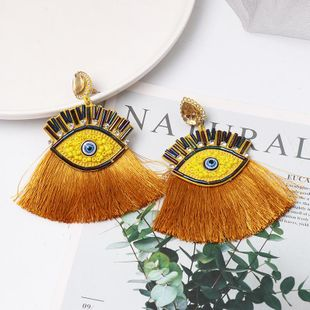 Fashion vintage diamond eye tassel earrings NHJJ149091's discount tags