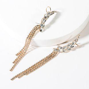 Fashion diamond long tassel earrings NHJE149097's discount tags