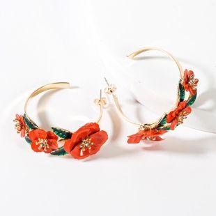 Retro new alloy spray paint flower hoop earrings NHJE149105's discount tags