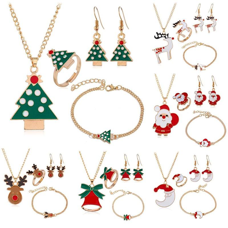 Fashion Christmas 4 pics jewelry set elk bells earrings necklace ring bracelet NHPV149116
