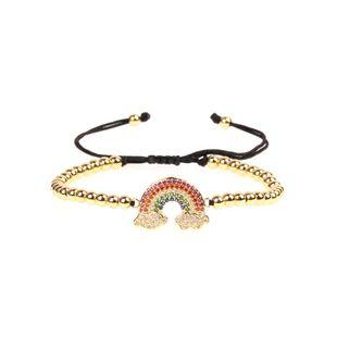 Colored zircon rainbow adjustable bead bracelet NHPY149123's discount tags