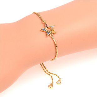 Simple new micro-set color diamond star copper bracelet NHPY149127's discount tags