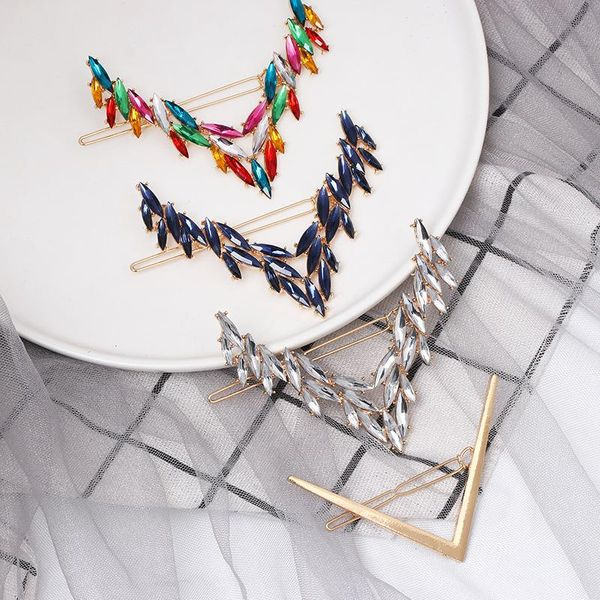 Fashion candy-colored diamond letter V-shaped hair clip NHJJ149131