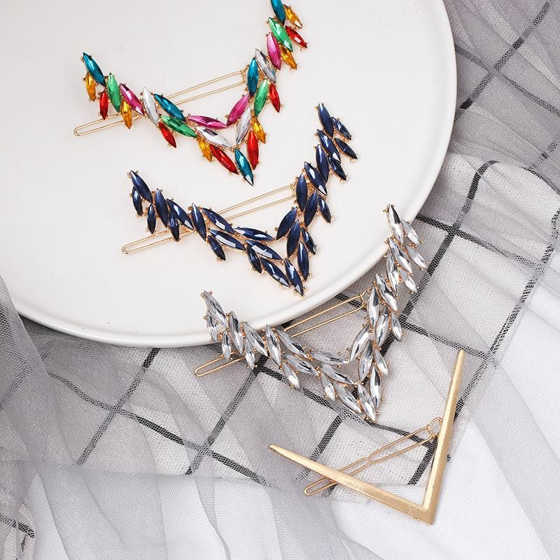Fashion candycolored diamond letter Vshaped hair clip NHJJ149131