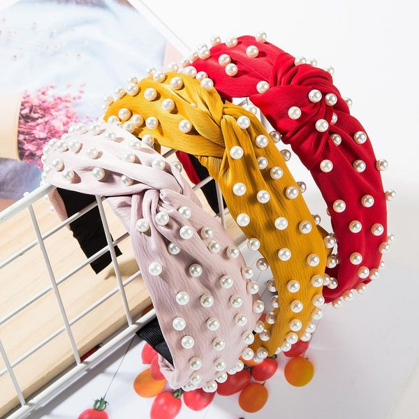 Fashion solid color fabric knotted pearl headband NHJE149135