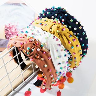 Fashion new cloth twisted color pearl headband NHJE149137's discount tags
