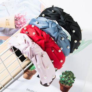Fashion cloth two-tone pearl headband NHJE149139's discount tags