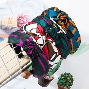 Fashion contrast printed plaid headband NHJE149142's discount tags