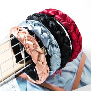 Fashion solid color satin twist women headband NHJE149143's discount tags
