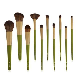 10 pics wooden handle makeup brush set NHDJ149162's discount tags