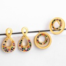 New copper inlaid zircon color circle stud earrings NHAS149170