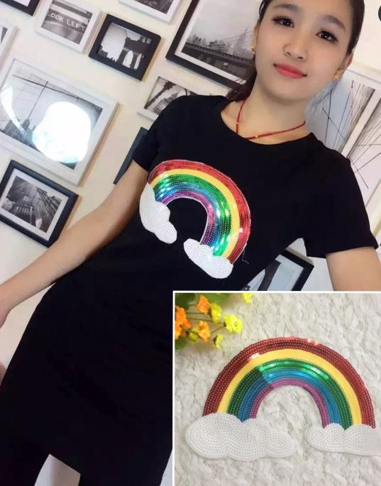Large sequins rainbow beads cloth stickers NHLT153687