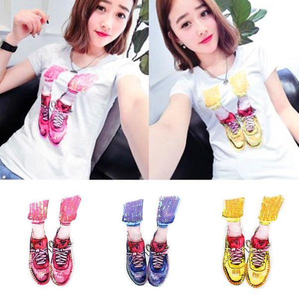 Lindos zapatos rosas bordados lentejuelas multicolores camiseta pegatinas de tela NHLT153704