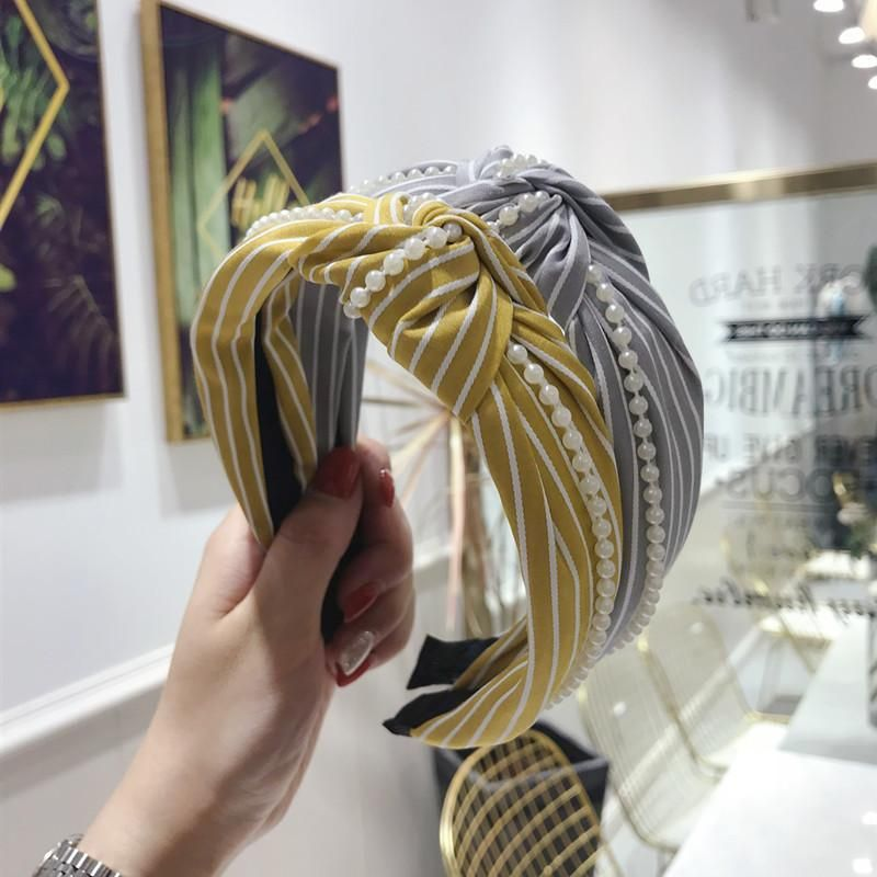 Korean version of the striped pearl chain wide-brimmed headband NHSM153716