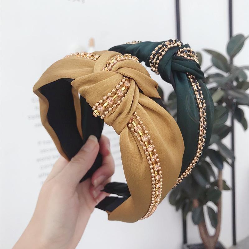 Korean version of solid color artificial gemstone super flash wide side headband NHSM153752