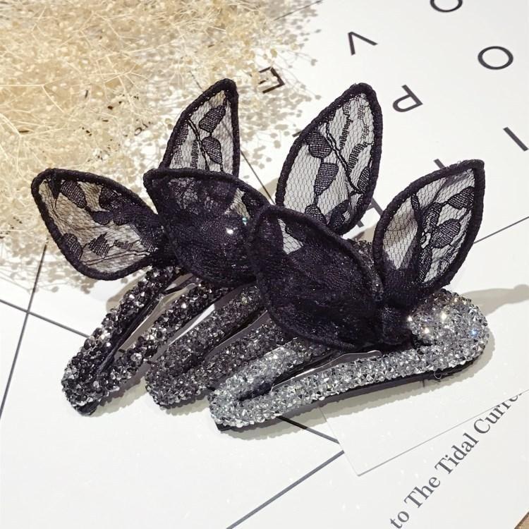 Crystal bud silk yarn rabbit ears bow hair accessories NHSM153759