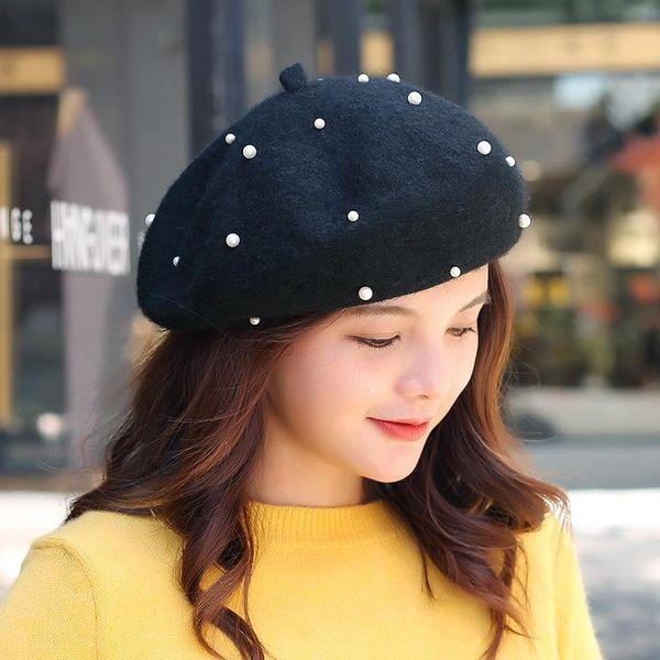 Korean literary sweet college pearl painter hat NHXO153807