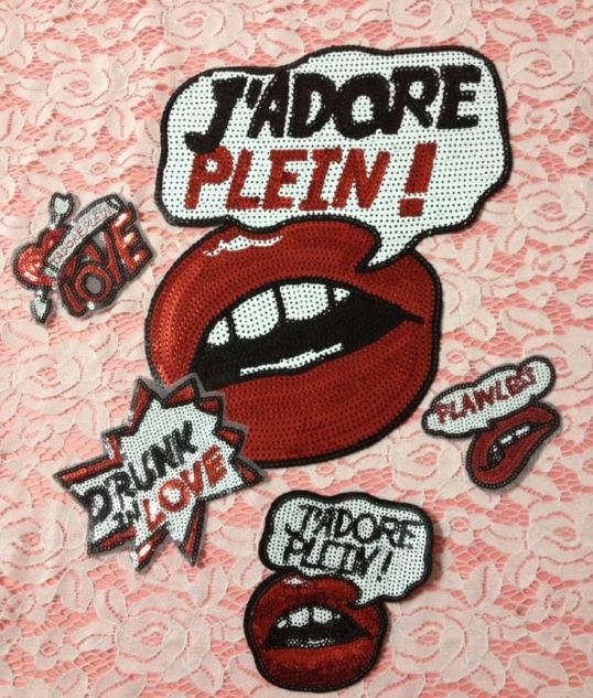 Fashion red mouth beads piece grabbing tongue cloth stickers NHLT153815
