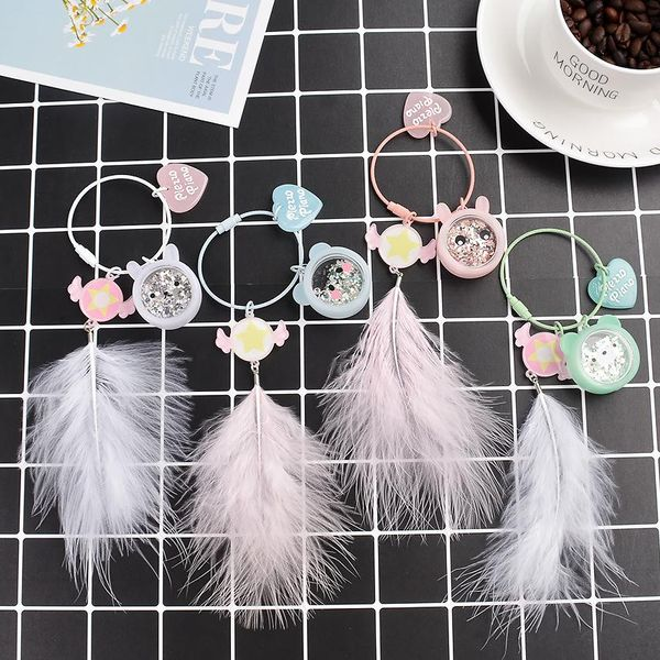 Cute acrylic feather keychain NHCB153845