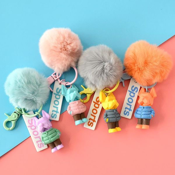 Cartoon Candy Color Resin Faceted Doll Hairball Keychain NHCB153846
