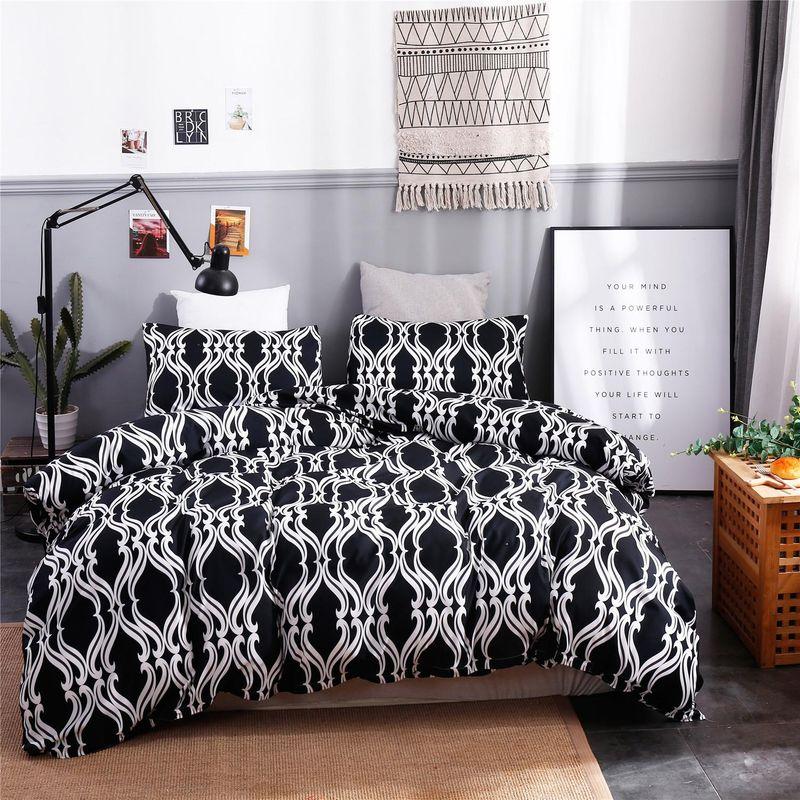 Juego de tres piezas de edredón lijado con estampado geométrico textil para el hogar NHSP153882