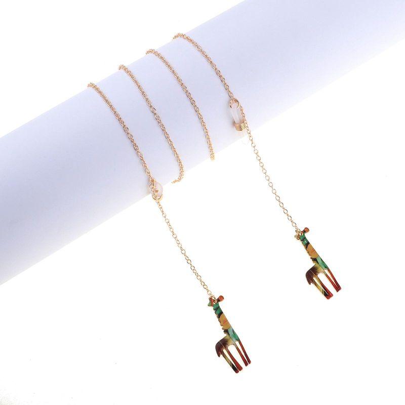 Golden Giraffe Pendant Metal Glasses Chain NHBC153889