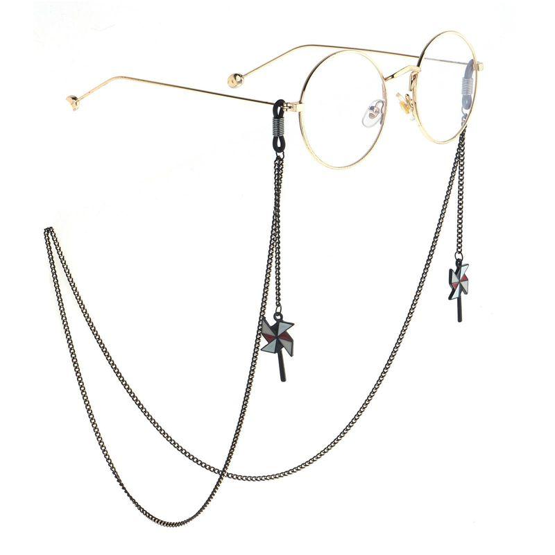 Fashion simple black cartoon windmill glasses chain NHBC153893