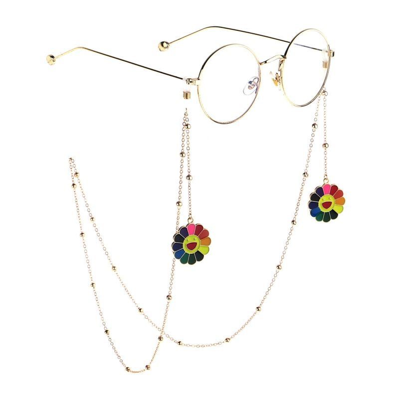 Fashion Chain Golden Sunflower Beaded Glasses Chain NHBC153898