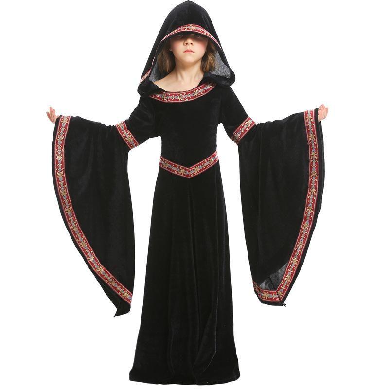 European 15 medieval Halloween girls black costume NHFE153908