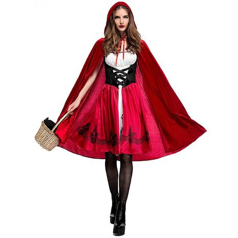 Halloween Little Red Riding Hood Costume Adult Cosplay Dress Party Pack NHFE153910's discount tags