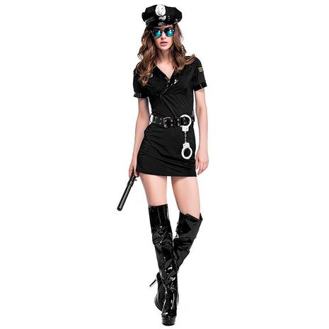 Halloween cosplay costume female black police uniform set NHFE153912's discount tags