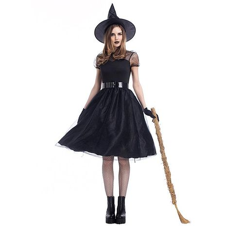 Halloween cosplay costume new black yarn witch suit NHFE153914's discount tags