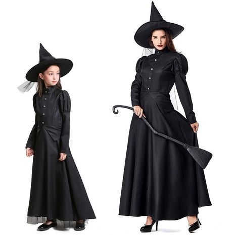 Wizard of Oz Halloween costume adult children COS black witch parent-child costume NHFE153924's discount tags