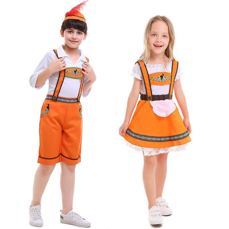 Halloween cosplay costume German beer festival children's orange costume NHFE153925