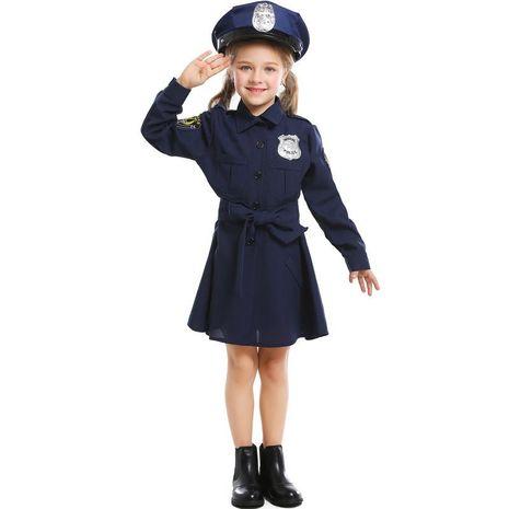 Halloween cosplay cute police uniform girl Slim one-piece long-sleeved police skirt NHFE153939's discount tags