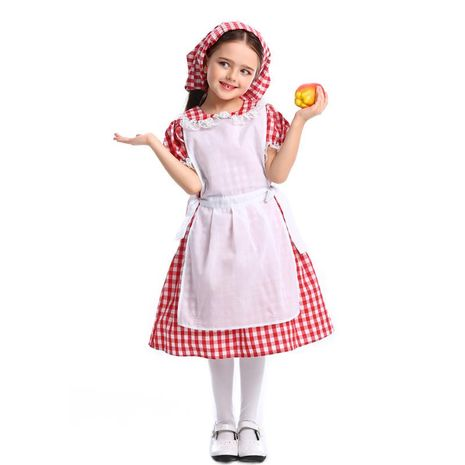 Halloween cosplay lace red plaid beer dress maid outfit NHFE153945's discount tags