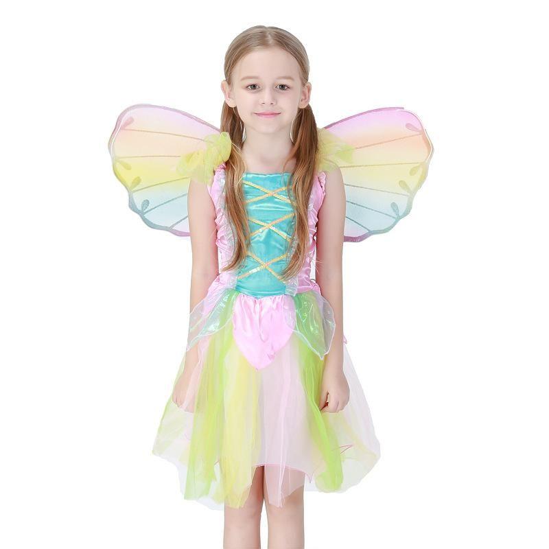 Cute Rainbow Angel Dress Halloween Children Princess Dress Cosplay Angel Costume NHFE153946